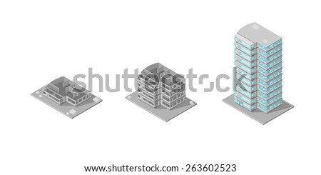 A vector illustration of a building construction done in stages on a construction site. Building Under Construction. Building site. - stock vector