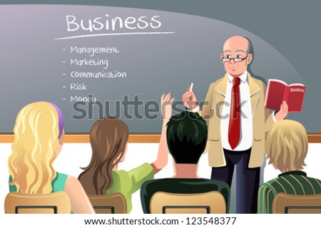 A vector illustration of a business class teacher or professor teaching in college class - stock vector