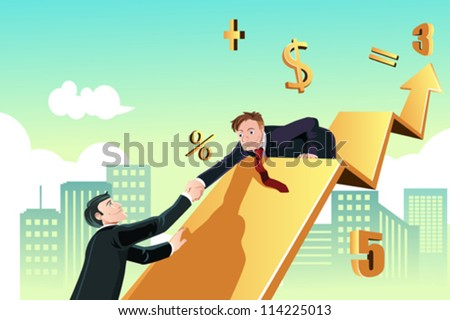 A vector illustration of a business concept of a businessman helping his colleague to achieve success together - stock vector