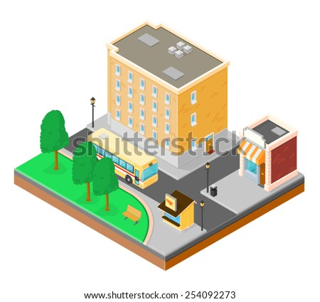 A vector illustration of a city neighborhood with shops, apartments, park and public transport. City neighborhood. A busy urban neighborhood. - stock vector