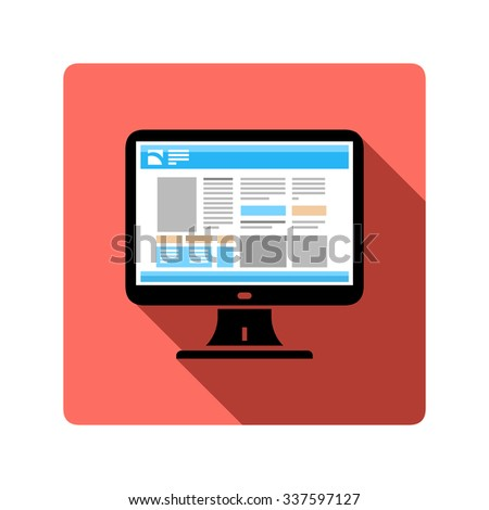 A vector illustration of a computer browsing the Internet. Computer web browsing icon illustration. Computer on web page flat icon concept. - stock vector