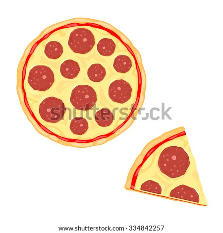 A vector illustration of a cooked Pepperoni Pizza. Hot Pepperoni pizza Icon Illustration. Fresh Italian cuisine cooking. - stock vector