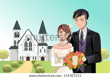 A vector illustration of a couple getting married in front of a church - stock vector