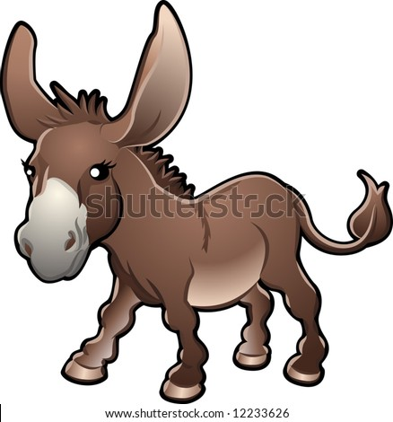 A vector illustration of a cute donkey - stock vector