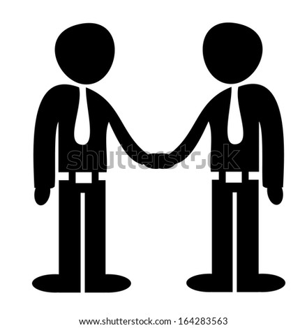 A vector illustration of a deal agreement between two businessmen, shaking hands - stock vector