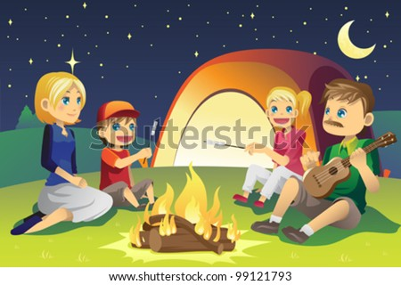 A vector illustration of a family camping - stock vector