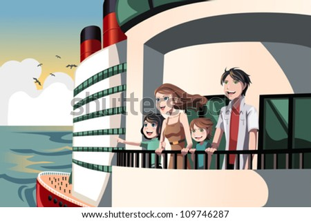A vector illustration of a family on a cruise trip - stock vector