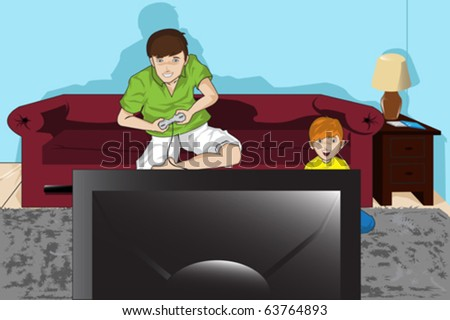 A vector illustration of a father and his son playing video games - stock vector