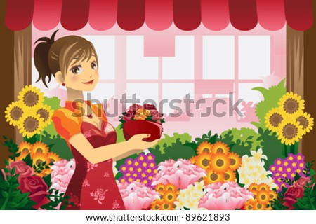 A vector illustration of a florist girl holding a pot of flowers in the flower shop - stock vector