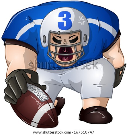A vector illustration of a football player in blue and white uniforms kneeling and holding a football.  - stock vector
