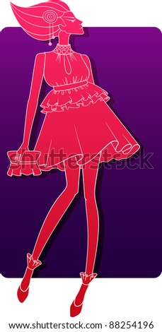 a vector illustration of a girl. - stock vector