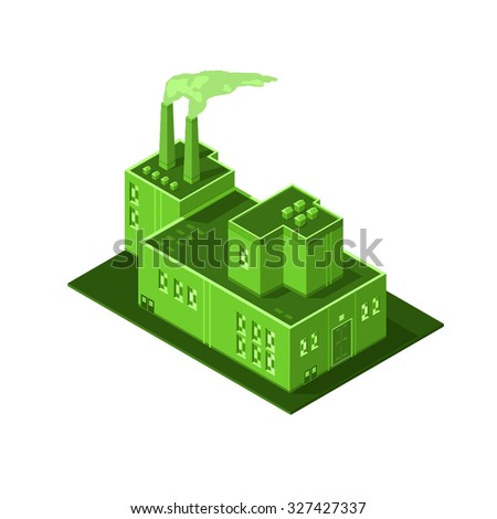 A vector illustration of a green eco industrial plant or power station. Isometric Icon illustration of a green factory buildings. generic factory industrial buildings. - stock vector