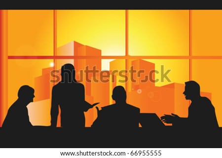 A vector illustration of a group business people in a meeting - stock vector