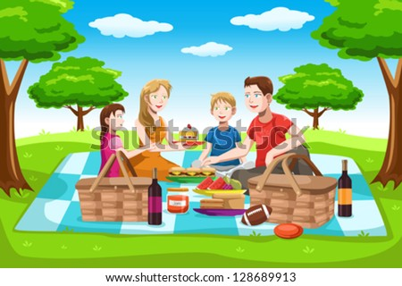 A vector illustration of a happy family having a picnic in the park - stock vector