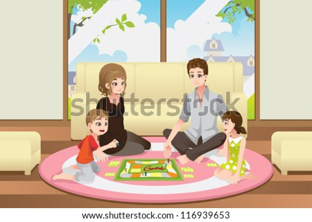 A vector illustration of a happy family playing a board game at home - stock vector