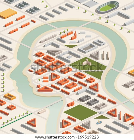 A vector illustration of a head shaped city in isometric format. Editable with objects logically layered. City features buildings, trees, church, stadium, etc./Isometric Head City - stock vector