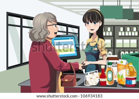 A vector illustration of a lady shopping at a grocery store - stock vector