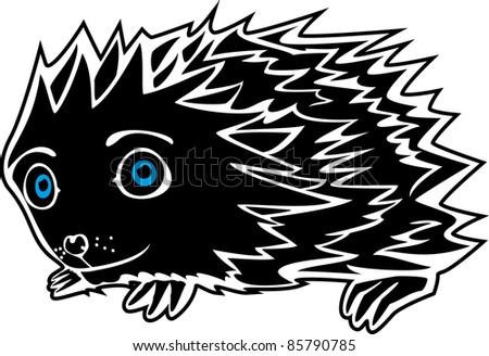 A vector illustration of a little funny Hedgehog. Can be recolored or scaled without problems and quality loss - stock vector