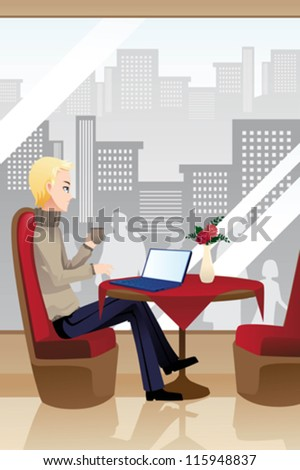 A vector illustration of a man using a laptop in an internet cafe - stock vector