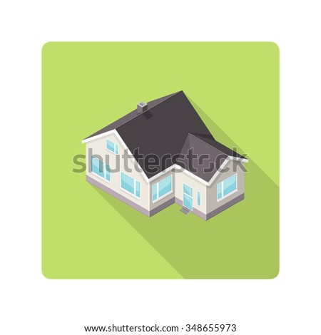 A vector illustration of a modern family home.  Isometric Family home icon illustration.  Flat Icon of a modern house. - stock vector