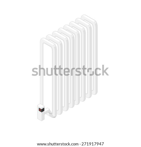 A vector illustration of a modern isometric radiator. Isometric Radiator icon illustration. Household heater. - stock vector