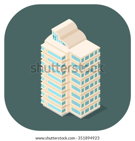 A vector illustration of a modern office building.  Isometric office icon.  Offices and workplace icons. - stock vector