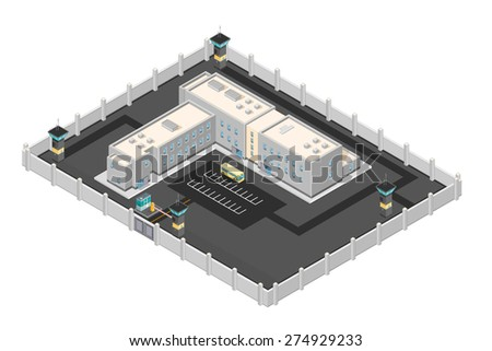 A vector illustration of a modern prison penitentiary. Isometric prison jail building. Justice and Prison system concept.  - stock vector