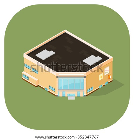 A vector illustration of a modern shopping Center.  Vector isometric supermarket building illustration. Large retail store concept for buying and selling. - stock vector