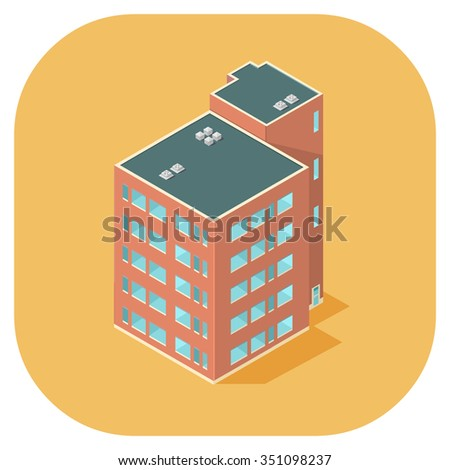 A vector illustration of a modern tower block or condos.  Isometric apartments vector illustration.  Apartment block condos. - stock vector