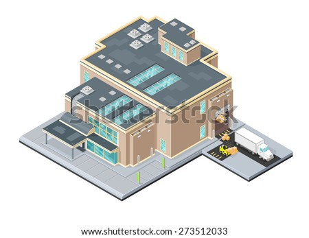 A vector illustration of a modern warehouse distribution center. Isometric Warehouse factory. Isometric Industrial outlet factory facility. - stock vector