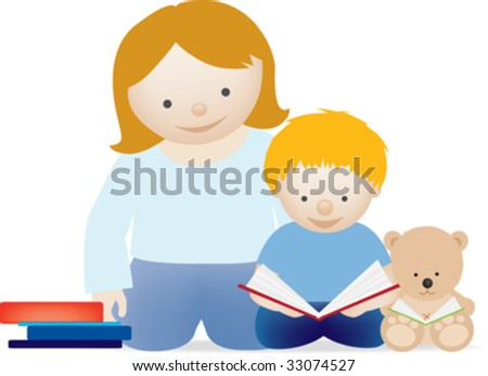 A vector illustration of a mum and her little boy reading a book - stock vector