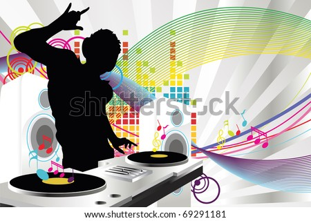 A vector illustration of a music DJ playing music - stock vector