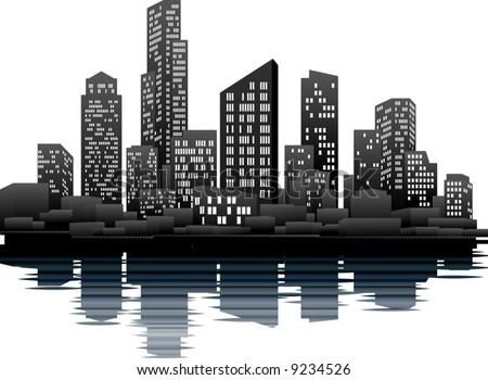 A vector illustration of a night time city skyline - stock vector