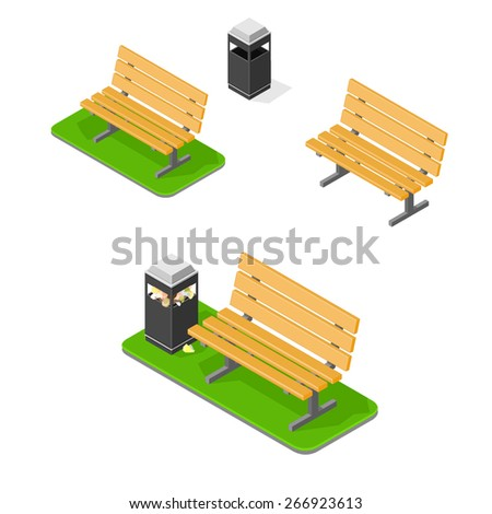A vector illustration of a park bench with litter bin. Park bench. Outdoor park benches on grass.  - stock vector