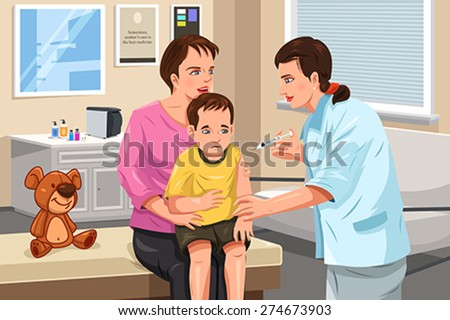 A vector illustration of a pediatrician giving a shot to a little child - stock vector