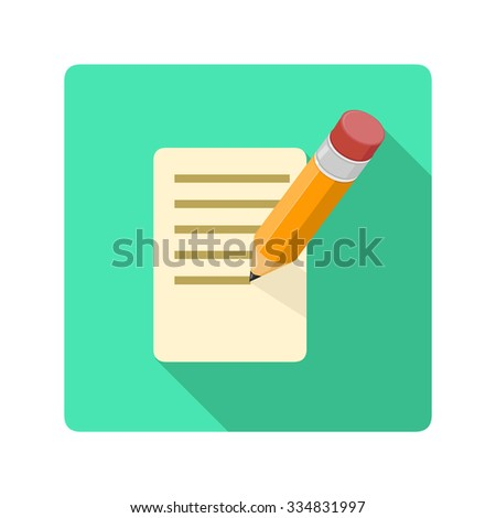 A vector illustration of a Pencil and paper Icon. Small pencil writing note Flat Icon Illustration. Vector writing pencil on paper document. - stock vector