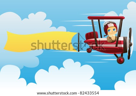 A vector illustration of a pilot on an airplane carrying a blank banner - stock vector