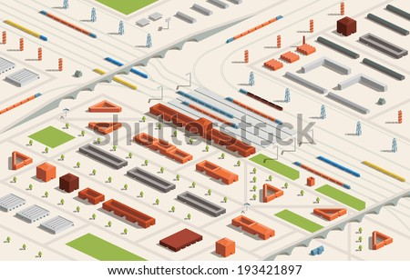 A vector illustration of a railway station in a city in isometric format. Editable with objects logically layered. City features trains, railroads, bridges, railway station etc./Railway Station - stock vector