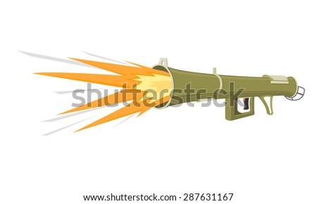 A vector illustration of a retro Bazooka. Cartoon Bazooka icon illustration. Portable rocket launcher. - stock vector