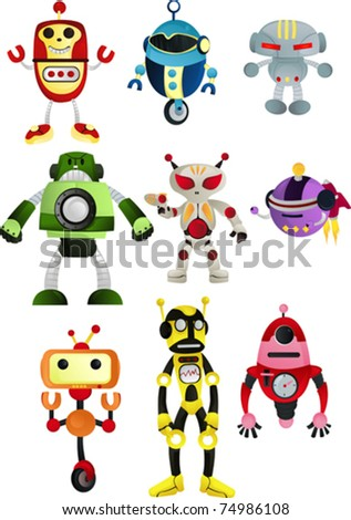 A vector illustration of a set of robots - stock vector