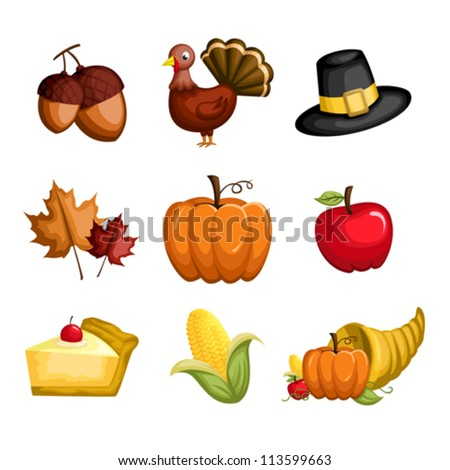 A vector illustration of a set of Thanksgiving icons - stock vector