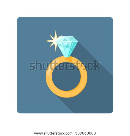 A vector illustration of a shiny jeweled ring. Diamond Ring icon illustration. Expensive rich jewelery concept. - stock vector