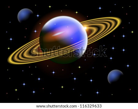 A vector illustration of a space scene with a large ringed planet saved in EPS10. - stock vector