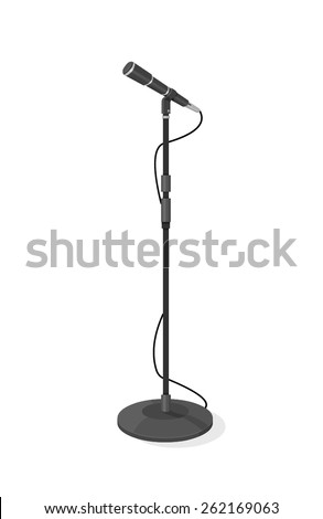 A vector illustration of a stage microphone. Stage microphone Stage microphone with stand. - stock vector