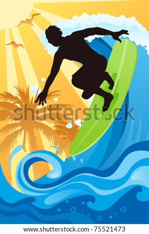 A vector illustration of a surfer surfing in the ocean - stock vector
