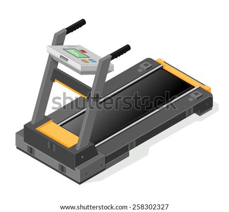 A vector illustration of a treadmill for fitness and running. Isometric Treadmill. treadmill for fitness and running - stock vector