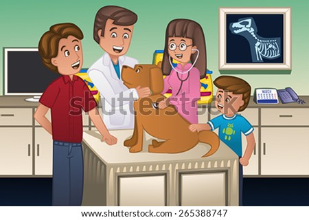 A vector illustration of a veterinarian examining a cute dog - stock vector