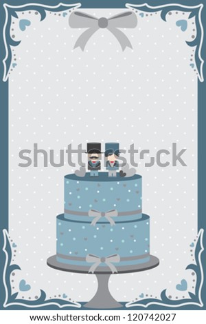 A vector illustration of a wedding cake designed for gay couple - stock vector