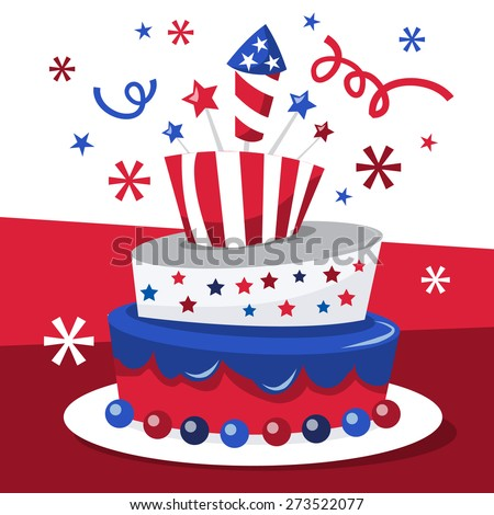 Topsy Turvy Cake Clipart : A vector illustration of a whimsical americana patriotic ...