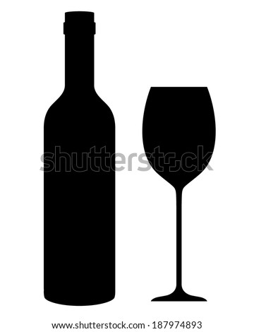 A vector illustration of a wine bottle and glass - stock vector